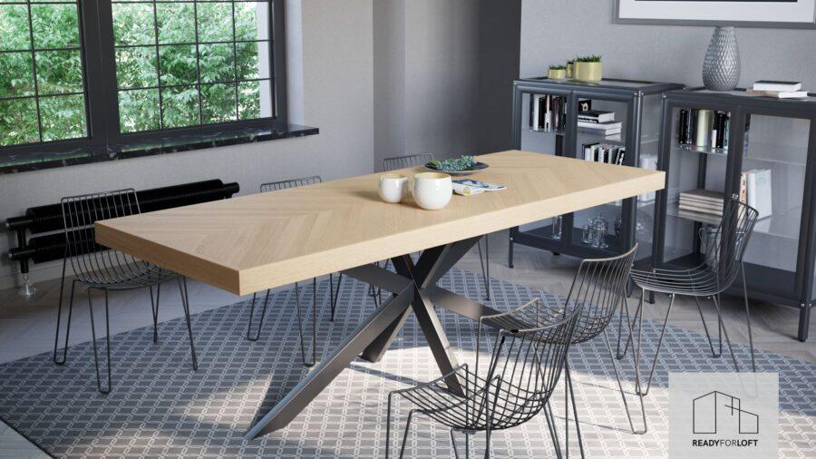 Fortun Fishbone Table with Matrix Leg