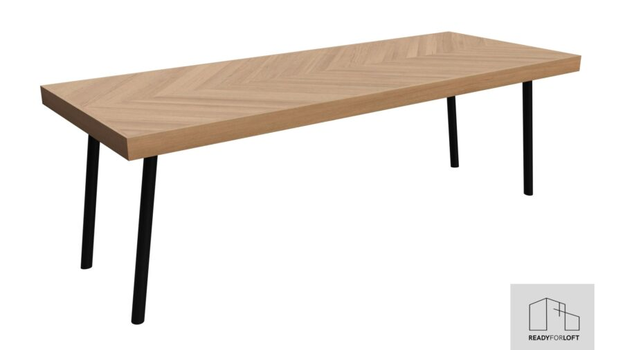 Fortun Fishbone Table with Round Legs