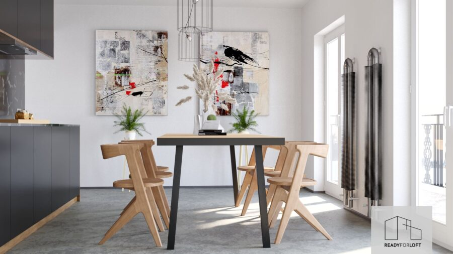 Malvik Fishbone Table with Metal Band with A Legs