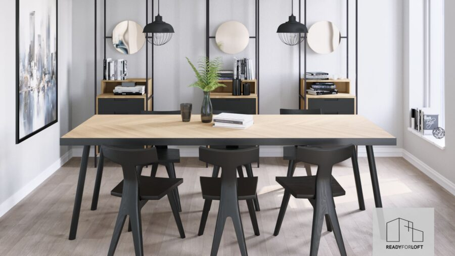 Malvik Fishbone Tisch mit Metallband mit runden Beinen
