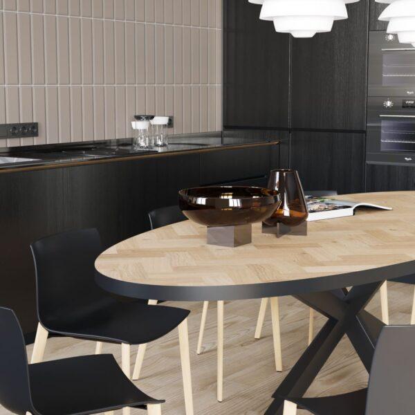 Oval Volden Sildebensbord med Metalbånd og Matrix Ben