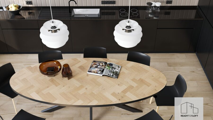 Oval Volden Fishbone Table with Metal Band with Matrix Leg