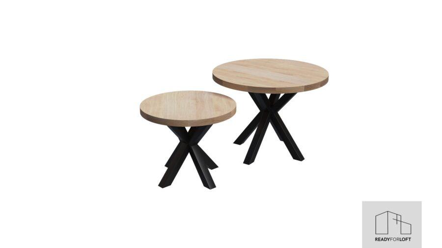 Runde Egetræs Sofabord med Matrix Ben