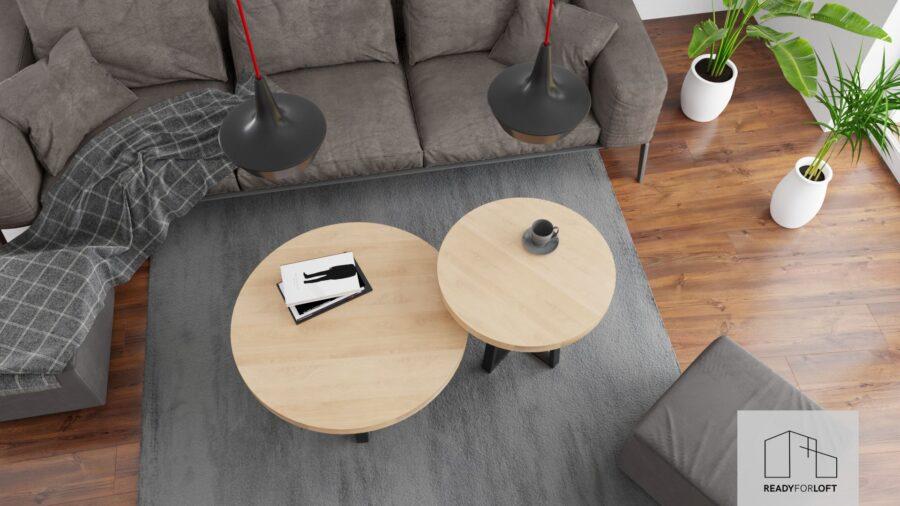 Round Berg Oak Coffee Table with Quad Leg