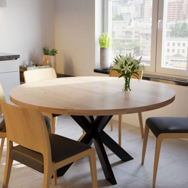 Round Berg Oak Table with Matrix Leg