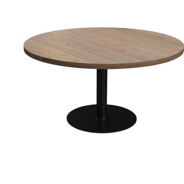 Round Berg Oak Table with Tube Leg
