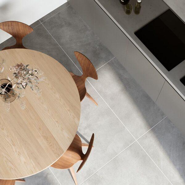 Rundt Berg Egetræsbord med Rørben