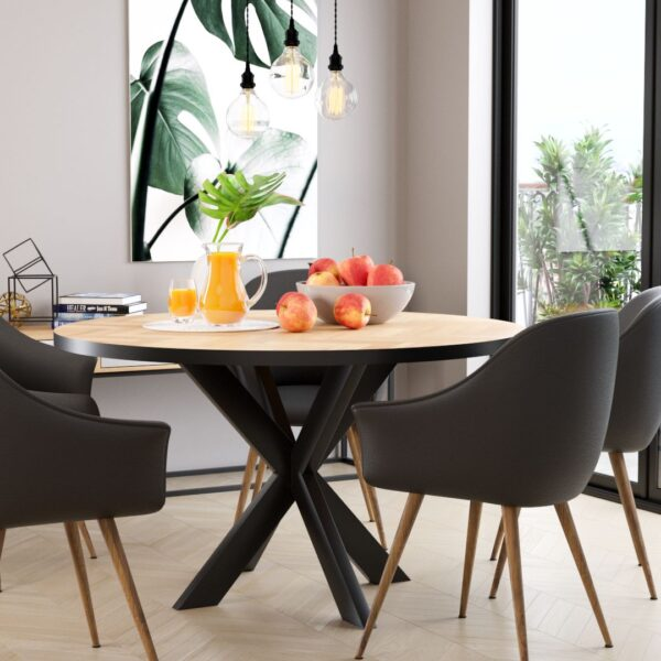 Round Volden Fishbone Table with Metal Band with Matrix Leg