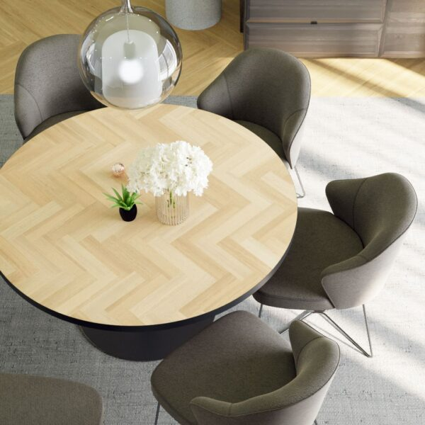Round Volden Fishbone Table with Metal Band with Tube Leg