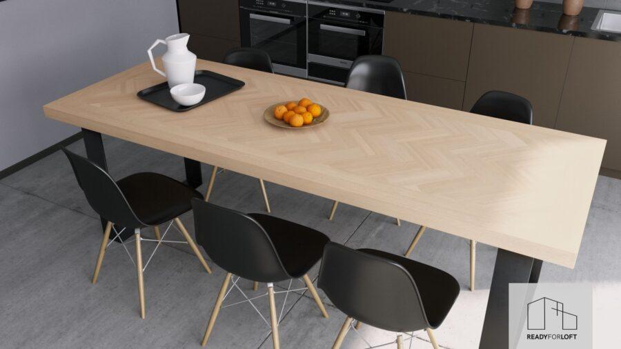 Volden Fishbone Table with U Legs